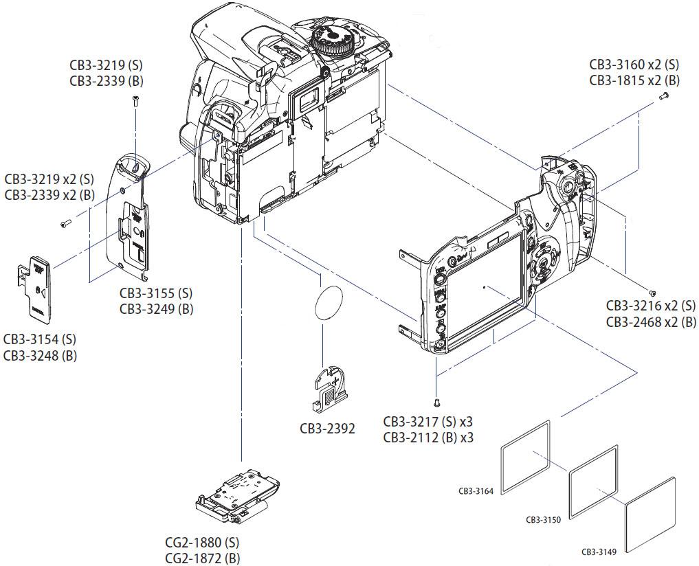 Корпусные части фотокамеры Canon EOS 400D, задняя и боковые панели, крышки аккумулятора, защитное стекло дисплея и их наличие в AS incommerce.ru