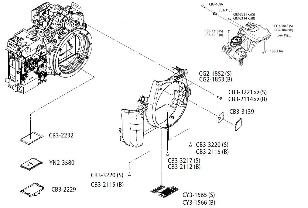 Устройство верхней панели фотокамеры Canon EOS 400D, передняя панель, фокусировочный экран и другие запчасти в AS incommerce.ru