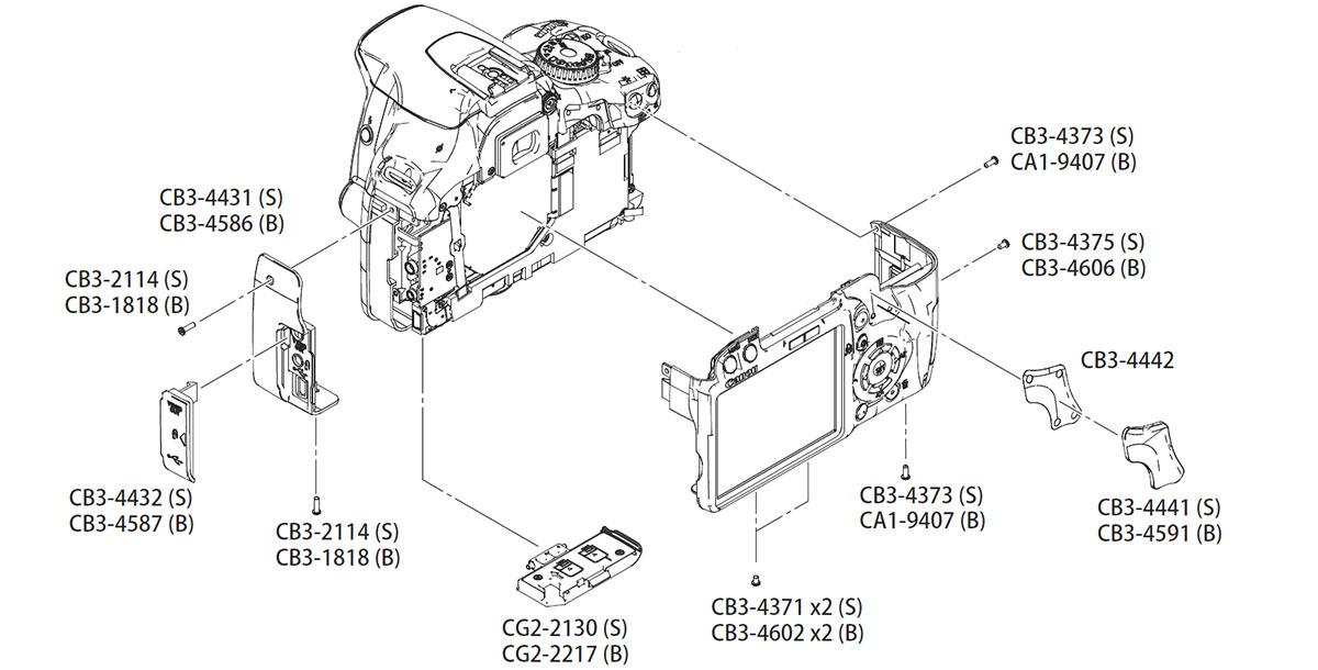 Устройство фотокамеры Canon EOS 450D, задняя панель и другие запчасти в AS incommerce.ru