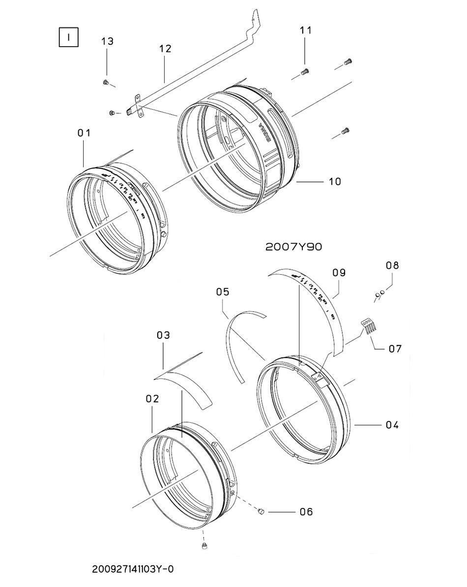 Устройство тубуса со шкалой фокусных дистанций объектива Sigma 12-24mm для Canon