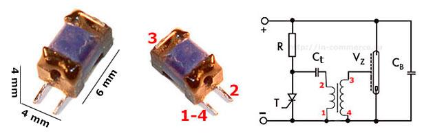 Характеристики, назначение выводов трансформатора триггера, типовая схема включения