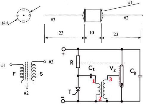 Характеристики, цоколевка трансформатор триггера TC-36 и типовая схема включения