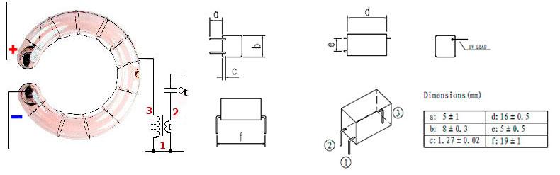Размеры, назначение выводов и типовая схема включения импульсных трансформаторов для мощных импульсных ламп