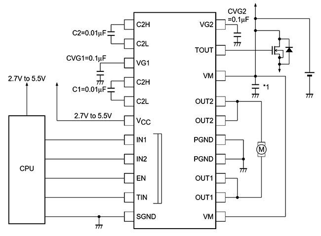 Типовая схема включения LV8013T