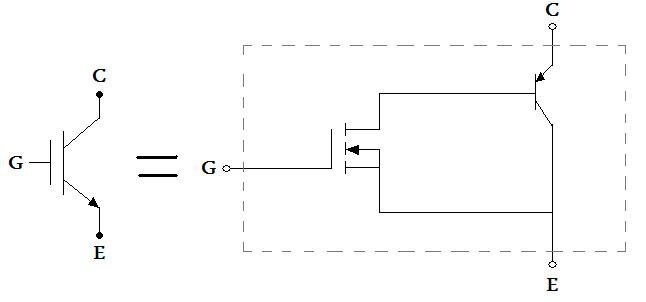 Упрощенная эквивалентная схема и схематическое обозначение igbt транзисторов