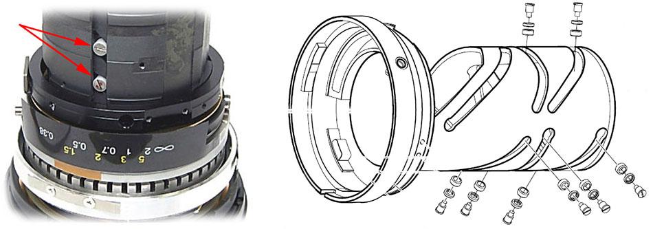 Установленные втулки в объективе Nikon 24-70mm f/2.8G ED AF-S Nikkor