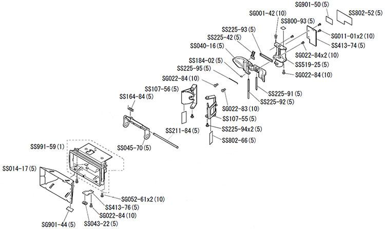 блок отражателя в сборе с указанием номера деталей согласно каталога запчастей для вспышки Nikon SB-800