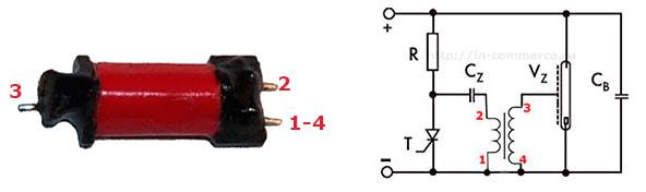 Назначение выводов импульсного трансформатора вспышки