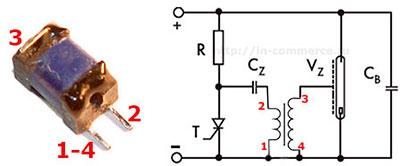 Назначение выводов импульсного трансформатора поджига лампы вспышки