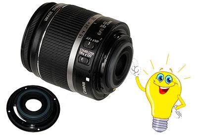 Пластмассовое кольцо крепления объектива Canon 18-55mm к фотоаппарату