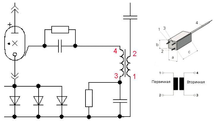 Назначение выводов и типовая схема включения трансформатора триггера для студийных фотовспышек и моноблоков