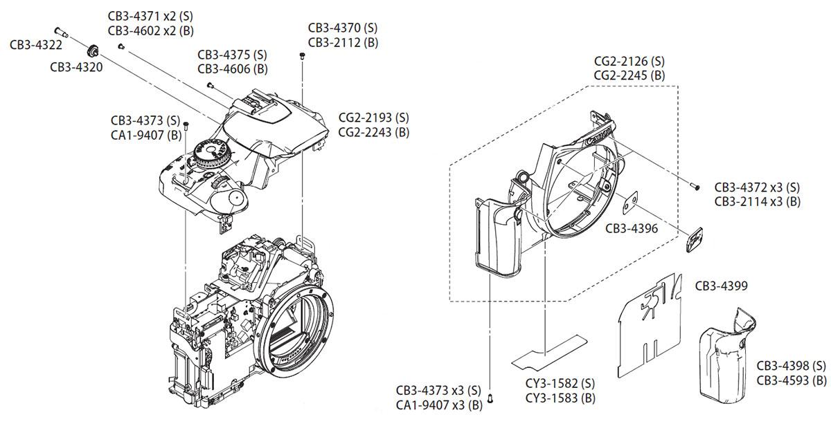 Устройство фотоаппарата Canon EOS 450D, передняя, верхняя панели и другие запчасти в AS incommerce.ru