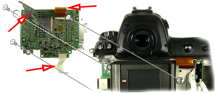 Шлейфы матрицы зеркальной камеры Nikon D3