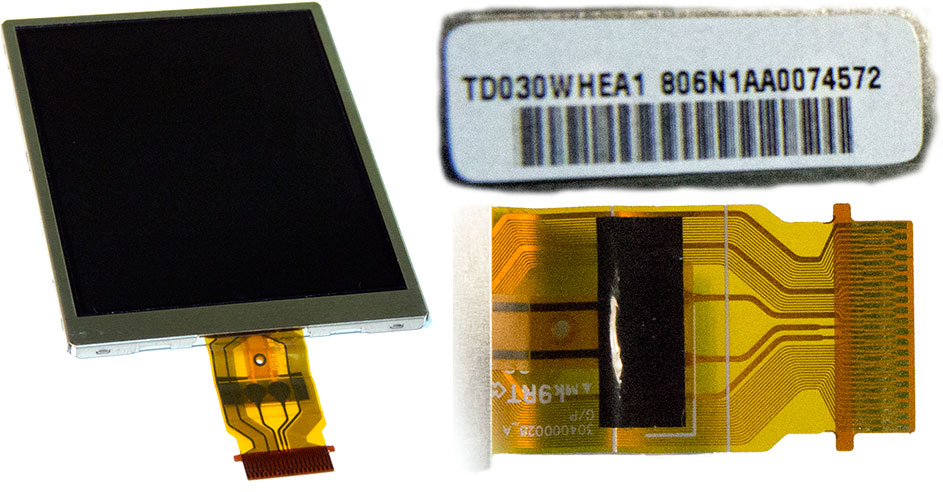 Внешний вид дисплея для компактных цифровых фотоаппаратов Olympus FE350, Nikon L18, Polaroid I1035, Polaroid T831, UFO DC8377, Ergo DC7375, DS460.