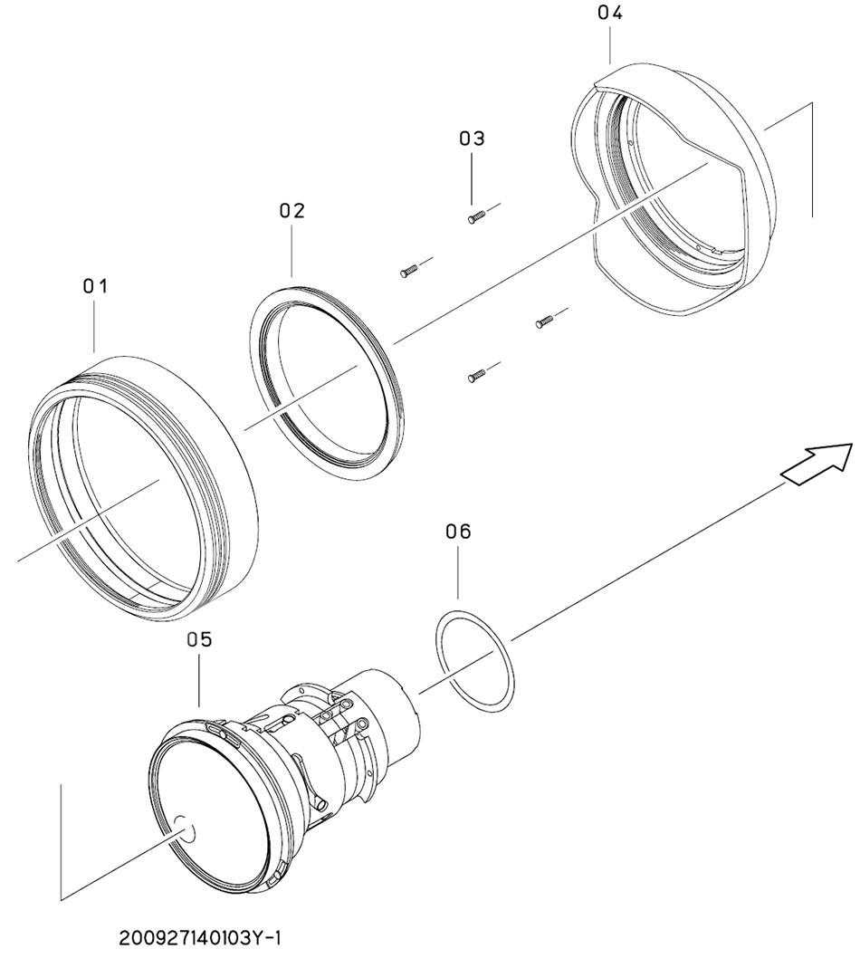 Устройство объектива с указанием номера деталей согласно документации