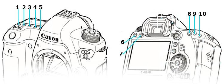 Кнопки управления верхней панели зеркальной камеры Canon EOS 60D