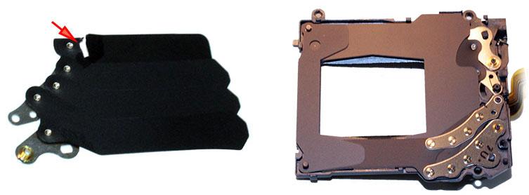 Поврежденная шторка и устройство рамки затвора фотокамер Sony