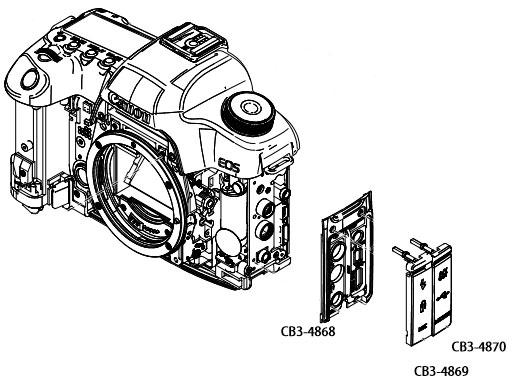 Боковая панель с заглушками на разъемы интерфейсов Canon EOS 5D Mark II